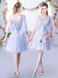 Lace Court Dresses for Sweet 16 Grey Lace Up Sleeveless Mini Length