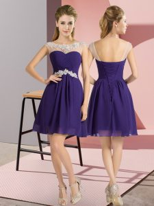 Cap Sleeves Chiffon Mini Length Lace Up Quinceanera Court Dresses in Purple with Beading