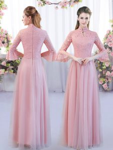 Low Price Pink Tulle Zipper Quinceanera Court of Honor Dress 3 4 Length Sleeve Floor Length Lace