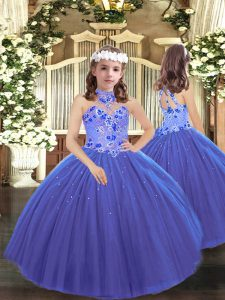 Floor Length Ball Gowns Sleeveless Blue Little Girls Pageant Dress Lace Up