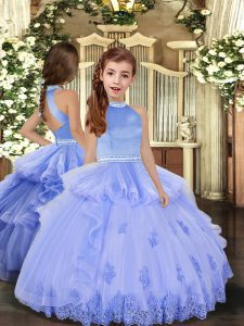 Perfect Lavender and Pink And Yellow Ball Gowns Beading and Appliques Girls Pageant Dresses Backless Tulle Sleeveless Floor Length