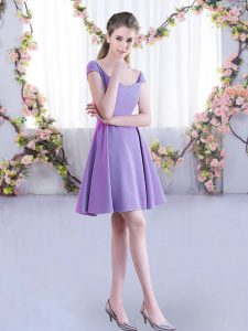 Lavender Chiffon Zipper Quinceanera Dama Dress Cap Sleeves Mini Length Ruching