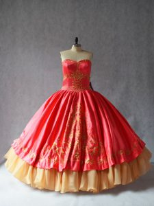 Coral Red Ball Gowns Satin and Organza Sweetheart Sleeveless Embroidery Floor Length Lace Up Sweet 16 Quinceanera Dress