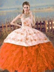 Graceful Ball Gowns Sleeveless Orange and Rust Red Quince Ball Gowns Court Train Lace Up