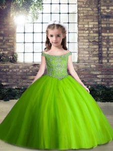 Off The Shoulder Sleeveless Pageant Dress Womens Floor Length Beading Green Tulle
