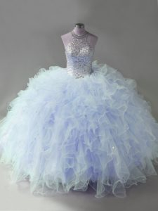 Sweet Lavender Ball Gowns Tulle Halter Top Sleeveless Beading and Ruffles Floor Length Lace Up Sweet 16 Dresses