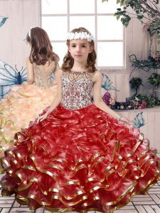Amazing Red Lace Up Child Pageant Dress Beading and Ruffles Sleeveless Floor Length