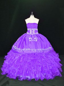 Lavender Ball Gowns Organza Strapless Sleeveless Embroidery and Ruffles Floor Length Lace Up Quinceanera Dress