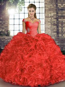 Most Popular Coral Red Sleeveless Beading and Ruffles Floor Length Quinceanera Dresses
