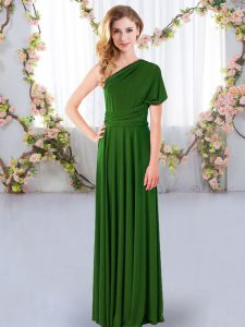 Captivating Floor Length Empire Sleeveless Green Quinceanera Dama Dress Criss Cross