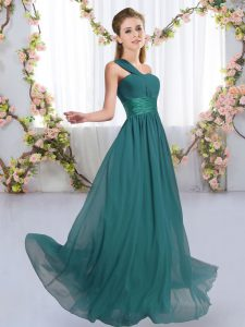 Peacock Green Sleeveless Chiffon Lace Up Quinceanera Court of Honor Dress for Wedding Party