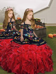 Cute Floor Length Ball Gowns Sleeveless Red Kids Pageant Dress Lace Up