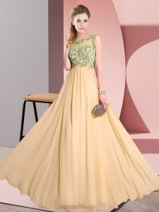 Custom Made Peach Scoop Backless Beading and Appliques Quinceanera Dama Dress Sleeveless