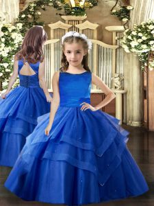 Attractive Sleeveless Ruffled Layers Lace Up Girls Pageant Dresses
