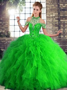 Enchanting Halter Top Sleeveless Sweet 16 Dress Floor Length Beading and Ruffles Green Tulle