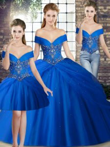 Royal Blue 15 Quinceanera Dress Off The Shoulder Sleeveless Brush Train Lace Up