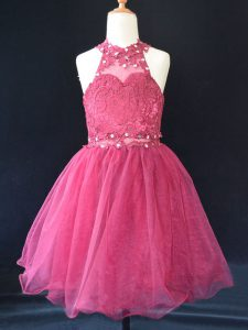 Low Price Sleeveless Lace Up Mini Length Beading and Lace Little Girls Pageant Gowns
