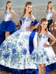 Simple Blue And White Sleeveless Satin Lace Up 15th Birthday Dress for Sweet 16 and Quinceanera