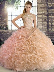 Flare Peach Ball Gowns Scoop Sleeveless Fabric With Rolling Flowers Floor Length Lace Up Beading Sweet 16 Dress