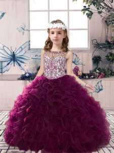 Custom Design Dark Purple Sleeveless Organza Lace Up Little Girl Pageant Gowns for Party and Sweet 16 and Wedding Party
