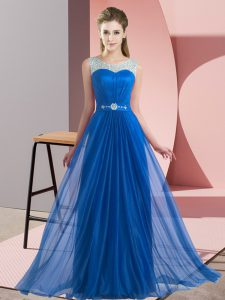 Beading Vestidos de Damas Blue Lace Up Sleeveless Floor Length