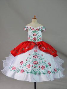 White And Red Satin and Organza Lace Up Off The Shoulder Sleeveless Floor Length Kids Pageant Dress Embroidery and Ruffles