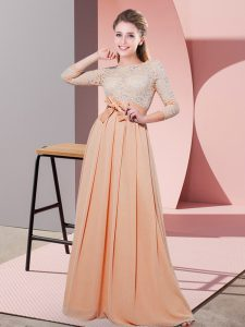 Fitting Peach Vestidos de Damas Wedding Party with Lace and Belt Scoop 3 4 Length Sleeve Side Zipper