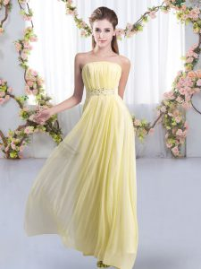 Beauteous Sleeveless Beading Lace Up Quinceanera Court Dresses with Yellow Sweep Train