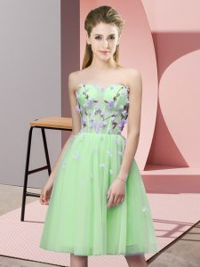 Amazing Lace Up Sweetheart Appliques Dama Dress Tulle Sleeveless