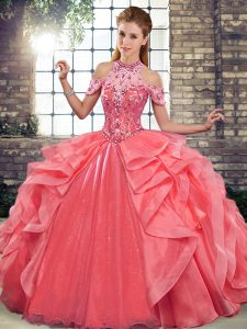 On Sale Watermelon Red Lace Up Quinceanera Gowns Beading and Ruffles Sleeveless Floor Length