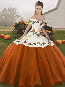 Great Rust Red Lace Up Off The Shoulder Embroidery Sweet 16 Dresses Organza Sleeveless