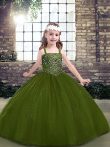 Olive Green Tulle Lace Up High School Pageant Dress Sleeveless Floor Length Beading