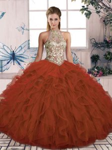 Tulle Halter Top Sleeveless Lace Up Beading and Ruffles Sweet 16 Dresses in Rust Red
