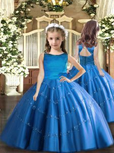 Blue Tulle Lace Up Little Girls Pageant Dress Wholesale Sleeveless Floor Length Beading