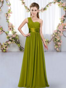 Trendy Olive Green One Shoulder Lace Up Belt Quinceanera Court Dresses Sleeveless
