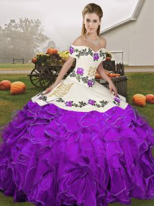 Off The Shoulder Sleeveless Organza Quince Ball Gowns Embroidery and Ruffles Lace Up
