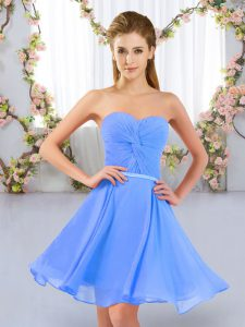Chiffon Sweetheart Sleeveless Lace Up Ruching Vestidos de Damas in Baby Blue