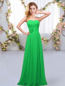 Simple Green Sweetheart Neckline Hand Made Flower Dama Dress for Quinceanera Sleeveless Lace Up