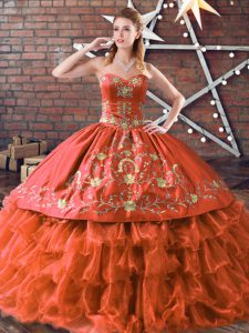 Rust Red Ball Gowns Embroidery and Ruffled Layers Ball Gown Prom Dress Lace Up Satin and Organza Sleeveless Floor Length