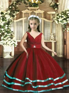 Sleeveless Beading and Ruching Backless Pageant Dress