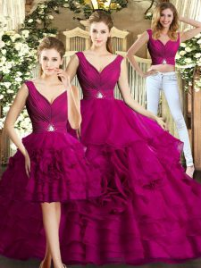 Super Organza Sleeveless Floor Length Quinceanera Dress and Beading and Ruffles