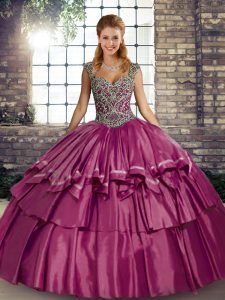 Romantic Fuchsia Lace Up Straps Beading and Ruffled Layers Quinceanera Dress Taffeta Sleeveless