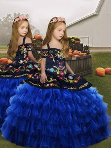 Royal Blue Ball Gowns Organza Straps Sleeveless Embroidery Floor Length Lace Up Little Girls Pageant Gowns