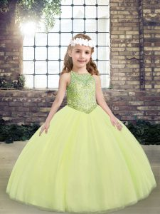 Light Yellow Little Girls Pageant Gowns Party and Wedding Party with Beading Scoop Sleeveless Lace Up