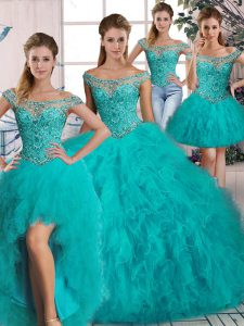 Chic Aqua Blue Sweet 16 Dress Tulle Brush Train Long Sleeves Beading and Ruffles