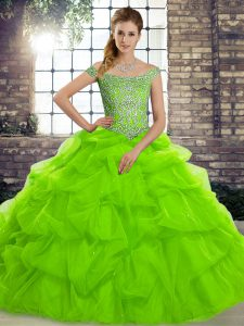Popular Sleeveless Tulle Brush Train Lace Up Quinceanera Dresses for Military Ball and Sweet 16 and Quinceanera