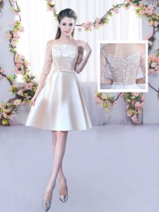 New Style Mini Length A-line Half Sleeves Champagne Quinceanera Court Dresses Lace Up