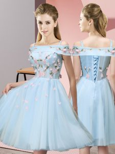 Gorgeous Off The Shoulder Short Sleeves Lace Up Dama Dress Light Blue Tulle