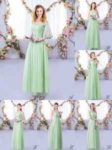 Popular Apple Green Empire Off The Shoulder Half Sleeves Tulle Floor Length Side Zipper Lace and Belt Dama Dress