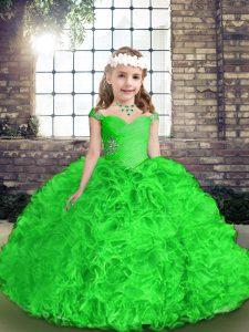 Floor Length Green Glitz Pageant Dress Organza Sleeveless Beading and Ruffles